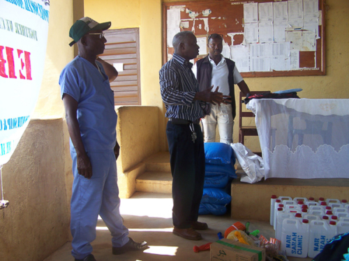 Presentation of items to support Chiefdom Task Force and Chiefdom Youth Council to help STOP Ebola in Koinadugu.